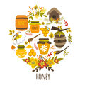 Honey hand drawn round design with title bee products colorful leaves flower compositions hives isolated vector illustration Royalty Free Stock Photography
