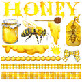 Honey, honeycomb, honey bee. Set for design label products from honey. Watercolor illustration Royalty Free Stock Photo