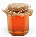 Honey jar on white background image Royalty Free Stock Photography