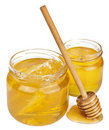 Honey in jars isolated Stock Photos