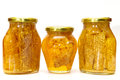 Honey jars isolated Stock Images