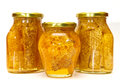 Honey jars isolated Stock Photo