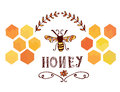 Honey label with bee and cells funny retro design Stock Photography