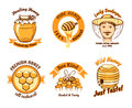 Honey labels and beekeeping logo