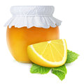 Honey and lemon mint natural medicine for winter flu over white background Stock Images