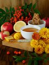 Honey, lemon, rowan berries and thermometer. Concept of treating seasonal cold Royalty Free Stock Photo