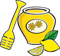 Honey and lemon vector illustration of bottle with wooden spoon for Royalty Free Stock Image