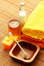 Honey and milk spa Royalty Free Stock Photography