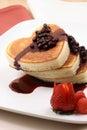Honey moon healthy pancakes Royalty Free Stock Photo