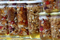 Honey with nuts and fruits Stock Image