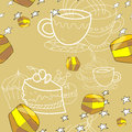 Honey pattern seamless illustration with cups and sweets Royalty Free Stock Photography