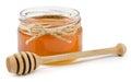 Honey pot on isolated white background Royalty Free Stock Photo