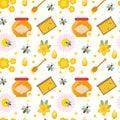 Honey seamless pattern. Beekeeping endless background, texture. Vector illustration.