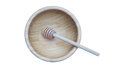 Honey stick in bamboo wooden bowl isolated Royalty Free Stock Photo