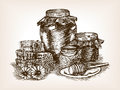 Honey still life sketch style vector illustration