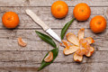 Honey tangerines on wood table still life with antique wooden Stock Images