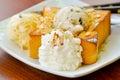 Honey toast and ice cream recipe dish Stock Photo