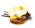 Honey waffles with vanilla pods and orchid flower Royalty Free Stock Images