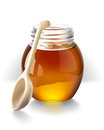Honey with a wooden spoon hand vector drawing detailed image in vector file transparent glass and not disappear on dark background Stock Photos