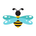 Honeybee cartoon icon isolated vector.
