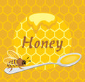 Honeybee on the spoon label for design illustration Royalty Free Stock Images