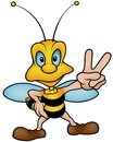 Honeybee victory gesturing colored cartoon illustration vector Royalty Free Stock Images