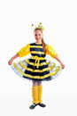 Honeybee young girl in colorful as carnival costume Royalty Free Stock Photo
