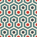 Honeycomb background. Retro colors repeated hexagon tiles wallpaper. Seamless pattern with classic geometric ornament. Royalty Free Stock Photo