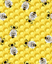 Honeycomb and bee completely seamless pattern Royalty Free Stock Photography