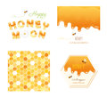 Honeycomb seamless pattern background, melted flowing honey, honeymoon letters and other design samples. Isolated on