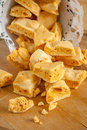 Honeycomb toffee or cinder hokey pokey sea foam known by many names and enjoyed around the world Royalty Free Stock Image