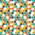 Honeycomb vector background. Seamless pattern with colored hexagons and cubes. Geometric texture, ornament of blue, red