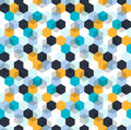 Honeycomb vector background. Seamless pattern with colored hexagons and cubes. Geometric texture, ornament of blue