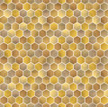Honeycomb vector background. Seamless pattern with colored hexagons. Geometric texture, ornament of gold, white and