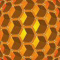 Honeycombs of honey on an orange background Stock Images