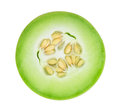 Honeydew melon sliced in half isolated on white Royalty Free Stock Photo