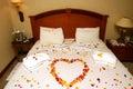 Honeymoon bed Stock Photography