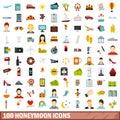 100 honeymoon icons set, flat style