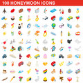 100 honeymoon icons set, isometric 3d style