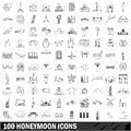 100 honeymoon icons set, outline style Royalty Free Stock Photo