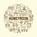 Honeymoon minimal thin line icons set