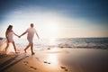 Honeymooners couple just married running at beach Royalty Free Stock Photo