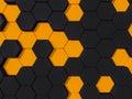 Honeyomb black orange abstract d hexagon background Royalty Free Stock Image