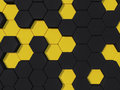 Honeyomb yellow black abstract d hexagon background Stock Photo