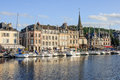 Honfleur france september scene of vieux port old harbor houses and boats in france on september is located in Stock Photography