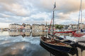 Honfleur france september scene of vieux port old harbor houses and boats in france on september is located in Royalty Free Stock Photos