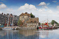 Honfleur the old port and harbour in normandy france Stock Photo