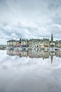 Honfleur skyline and harbor with reflection normandy france famous village europe Royalty Free Stock Photography