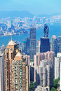 Hong kong aerial view panorama with urban skyscrapers and sea Royalty Free Stock Images