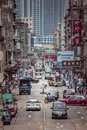 Hong Kong - 28 apr 2019: Old urban area, busy street in the middle of old residential buildings, Kowloon City, Hong Kong